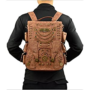 Jackdaine Men's Ladies Fashion Steampunk Outdoor Travel Backpack Backpack