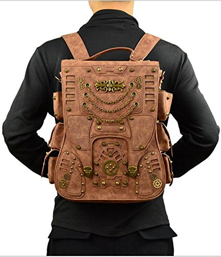 Jackdaine Men's Ladies Fashion Steampunk Outdoor Travel Backpack Backpack 3
