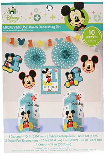 amscan Mickey Mouse 1st Birthday Room Decorating Kit 10 Count Party Supplies Mickey Fun to be One, Multi-Colored, One Size]()