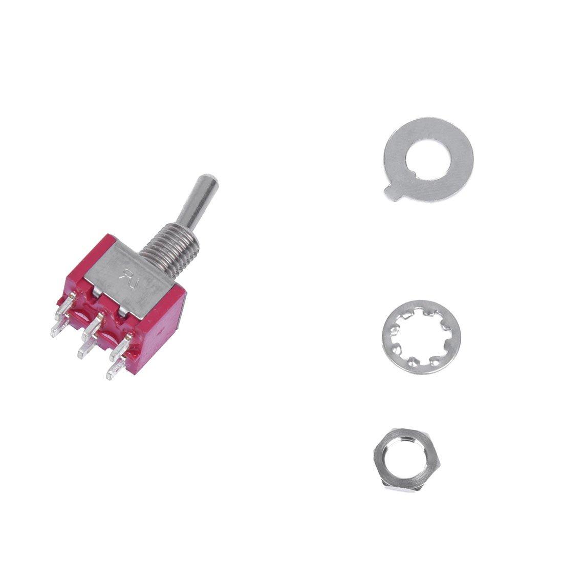 SODIAL(R) 10x Mini-Kippschalter DPDT ON-Position Auf Zwei Roten 2a ...