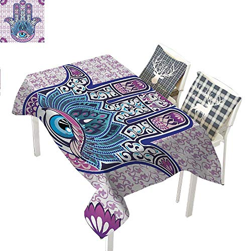 - Ornaments Purple Hamsa Decor Kabbalah Judaica Evil Eye Lucky Charm Chai Protection Stone Mystic Home Blessing Hand of Fatima Blue Outdoor Tablecloth Rectangle Tablecloth W60 xL84 inch