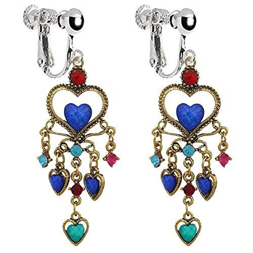 Vintage Bohemian Love Heart clip on Dangle Earrings Non Pierced Long Tassel Crystal for Girls Women ()