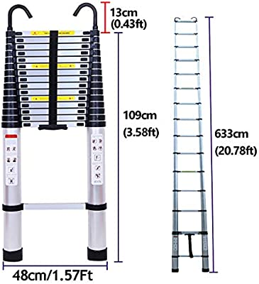 Escalera telescópica extensible con gancho, 6,2 m, cierre suave, protección de los dedos, aluminio, peso ligero, 150 kg: Amazon.es: Bricolaje y herramientas