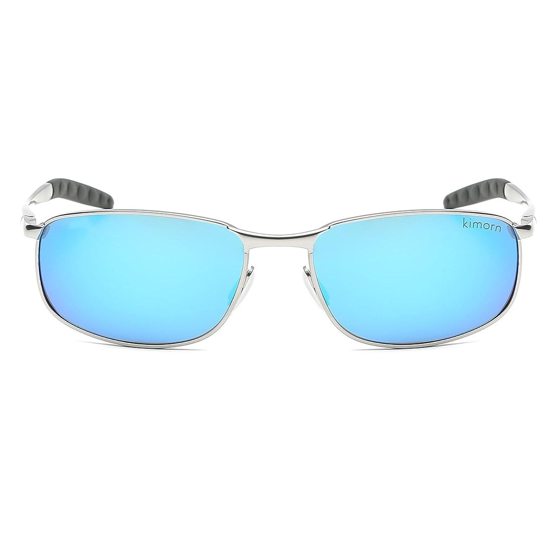 Kimorn Polarisé Lunettes De Soleil Hommes Rectangulaire Métal Cadre Des lunettes K0559 (Gris&Noir) qFHbP3MI5
