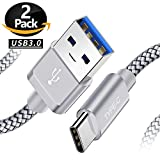 USB 3.0 Type C Charger Cable, 6.6FT 2-Packs, Nylon Braided Charging Cord for Samsung Galaxy Note 9 8 S8 S9 Plus, LG V40 V35 V30 G7 G6, Google Pixel 3 2 XL, Moto Z2 Z3, ZTE Blade Zmax, And More Silver
