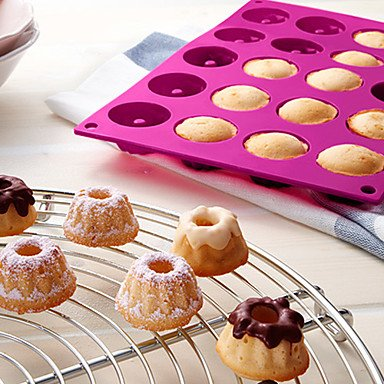 HJLHYL 20-Cav Mini Savarin Cake Mold Muffin Cupcake Mold Silicone Baking Tray