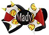 Match Team Colors Softball Personalized Hair Bow, Hairbow Clip or Ponytail Holder