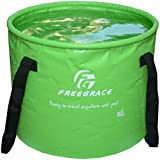 Freegrace Premium Collapsible Bucket with Mesh Pocket -Multifunctional Folding Bucket -Perfect Gear For Camping, Hiking & Travel