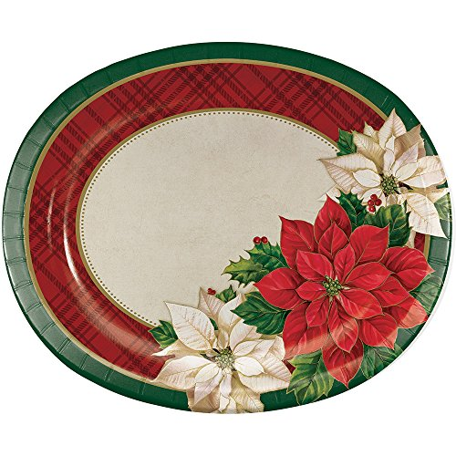 Poinsettia Accent Plate (Creative Converting 8-Count Oval Paper Platters, Plaid Poinsettia)