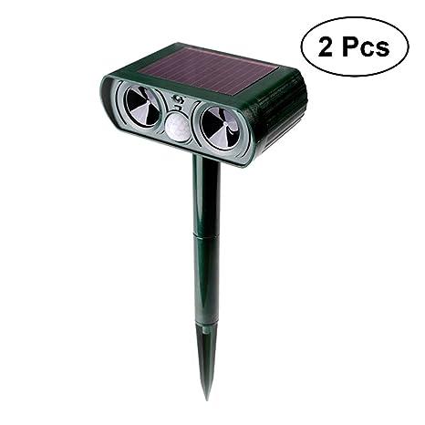 LEDMOMO 2pcs repelente animal ultrasónico solar resistente al agua repelente de animales al aire libre con