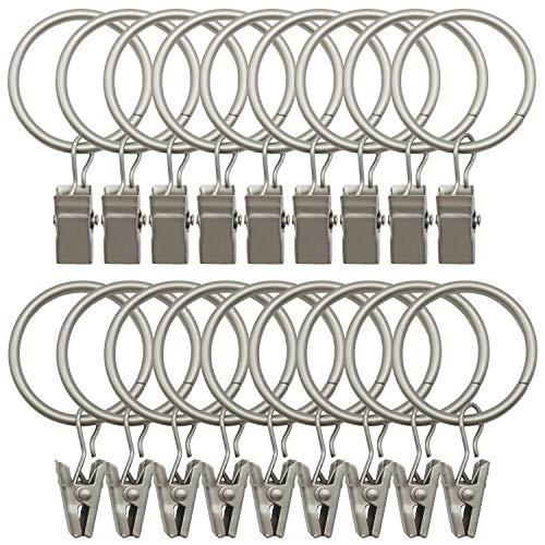 Topspeeder 18 Pack Rings Curtain Clips Strong Metal Decorative Drapery Window Curtain Ring with Clip Rustproof Vintage 1.26 Inch Interior Diameter Mist Silver Color (Curtains Rings With Metal)