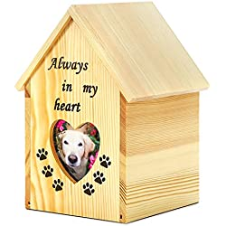Pidsen Pet House Shape Cremation Urn Peaceful Memorial Keepsake Urn with Heart-shaped Photo Box For Dog Cat (L)