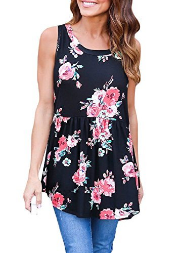 OUR WINGS Women Black Blooms Floral Print Sleeveless Babydoll Tank (Full Bloom Cami)
