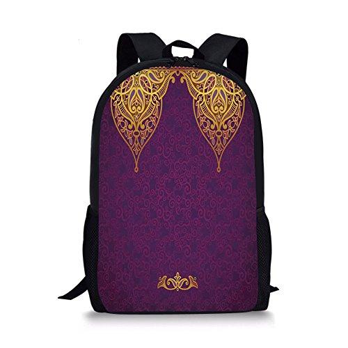 iPrint School Bags Purple,Eastern Oriental Royal Palace Patterns Bohemian Style Art Traditional Wedding,Purple Gold Boys&Girls Mens Sport Daypack by iPrint