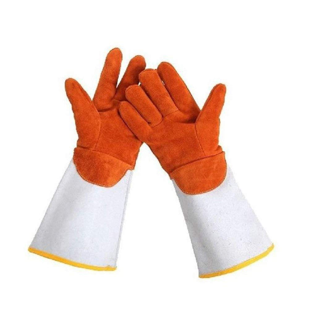 MYXMY Heavy Duty Heat Resistant & Flame Retardant Welding & BBQ Gloves, Premium Cowhide Leather Brown-L38cm