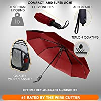 Repel Windproof Travel Umbrella with Teflon Coating (Red)