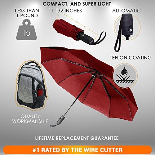 Repel Windproof Travel Umbrella with Teflon Coating (Red) by Repel Umbrella (Image #1)