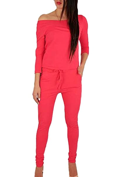 15acc6501c0 Maybest Women s Sexy Off Shoulder 3 4 Sleeve Drawstring Jumpsuit Playsuit  Leisure Long Cone Cuffed