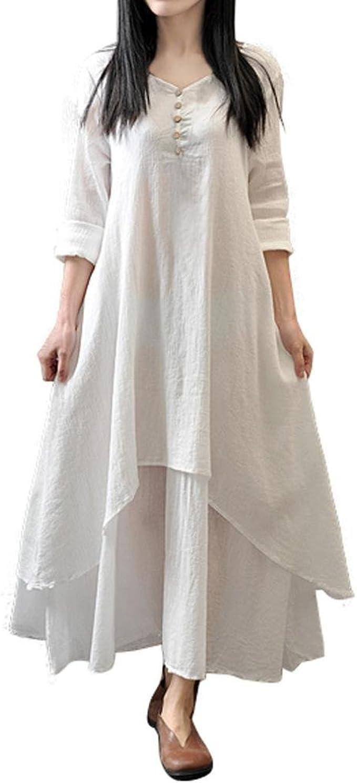 ZahuihuiM Damen Elegant Weiß Baumwolle Lang Maxi Kleid V