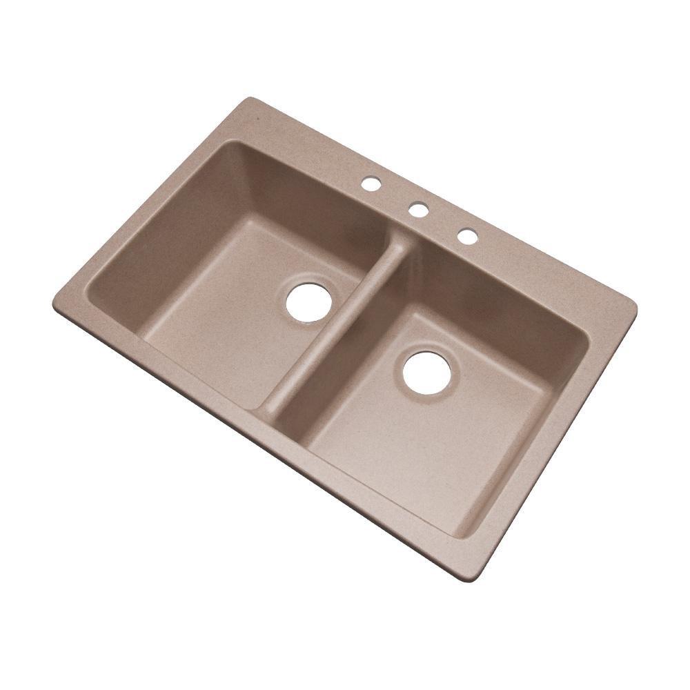 Dekor Sinks 89315Q Westwood Composite Granite Double Bowl Kitchen Sink with Three Holes, 33-Inch, Desert Sand