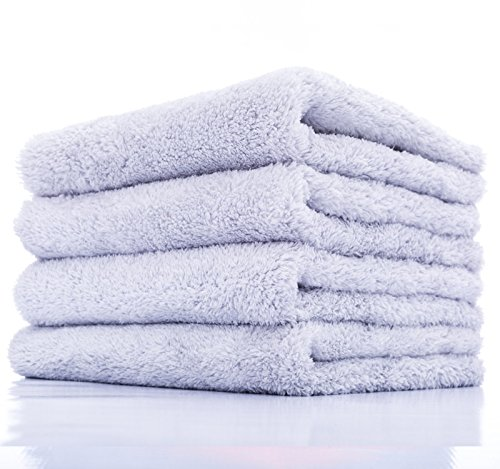 THE RAG COMPANY (4-Pack) 16 in. x 16 in. Eagle EDGELESS 500 Professional Korean 70/30 Super Plush 500gsm Microfiber Detailing Towels (16x16, Ice Grey)