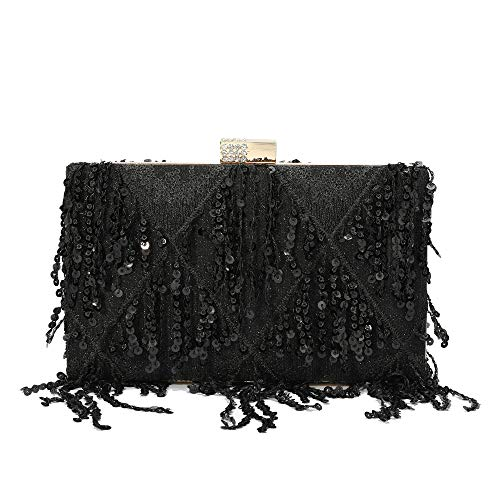 Minicastle Womens Evening Clutch Bag Tassel Sequin Clutch Purse Handbag for Wedding Party Prom Bride