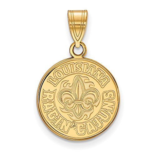14k Yellow Gold LogoArt Official Licensed Collegiate University of Louisiana (UL) at Lafayette Medium Pendant by LogoArt