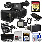 Panasonic HC-X1 4K Ultra HD Video Camera Camcorder with 128GB Card + LED Video Light + Microphone + Hard Case + 3 Filters Kit