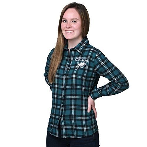 Philadelphia Eagles 2016 Wordmark Basic Flannel Shirt - Womens Medium