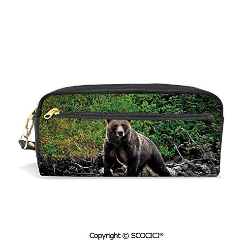 Students PU Pencil Case Pouch Women Purse Wallet Bag Brown Bear in Lake Alaska Untouched Forest Jungle Wildlife Image Decorative Waterproof Large Capacity Hand Mini Cosmetic Makeup Bag ()