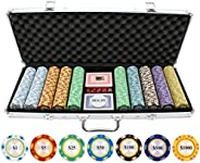 Jpcommerce 13.5G 500Pc Monte Carlo Clay Poker Chips Set