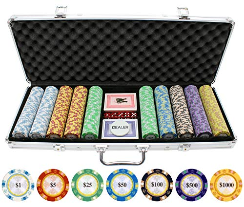 Gram Sets Poker Chips - 500 Piece Monte Carlo Clay Poker Chips Set