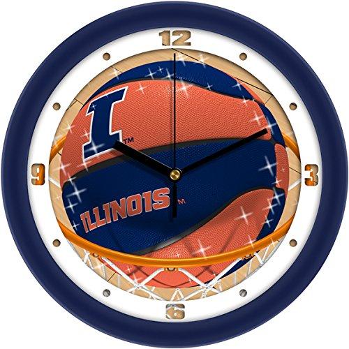 Illini Glass Illinois Fighting (SunTime NCAA Illinois Fighting Illini Slam Dunk Wall Clock)