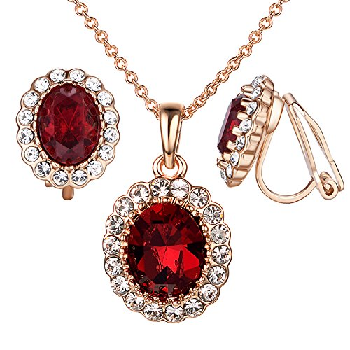 Yoursfs Simulated Ruby Jewelry Set Oval Halo Necklace and Non-Pierced Clip Earrings for Women