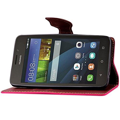 YAJIE-Carcasa Funda Para Huawei Ascend Y635 Case, Nature Leaf Cierre magnético PU Leather Wallet Flip Case Cover ( Color : Black ) Rose