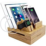 iCozzier Bamboo 5-Slot Removable Tablet Phone Stand Holder Desktop Organizer for Tablet CellphoneStandCord Organizer Multi-Devices Docking Station