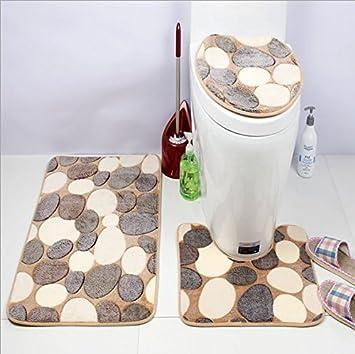 Badteppich Set Stone, Goodchanceuk 3/Set Stein Muster Rutschfeste Badezimmer  Teppich (Badteppich,