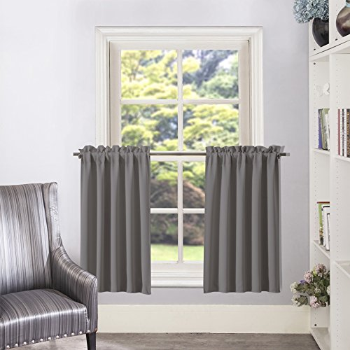 (Aquazolax Half Window Blackout Curtain Tiers/Valance Rod Pocket Tailored Tier/Valance/Cafe Curtains, 2 Panels, W28 x L36 Inches, Grey)
