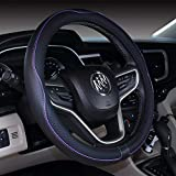 2019 New Microfiber Leather Car Large and Small Steering wheel Cover (14''-14.25'', Black Purple)