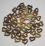 50pcs Rustic Wooden Pattern Love Shaped Holed