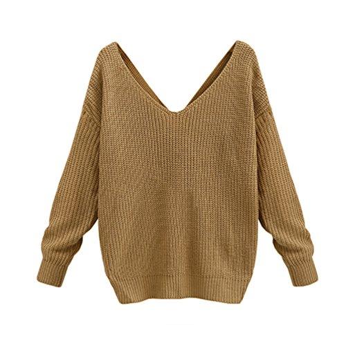 YOUJIA Mujeres Suéter Flojo Cuello redondo Manga Larga Murciélago Jersey de Punto Pullover Amarillo