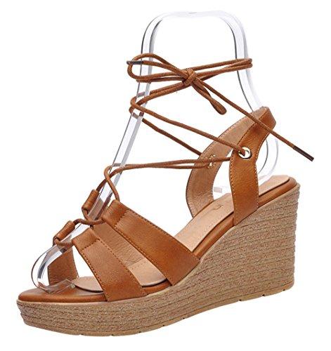 Passionow Women's Furnish Toe Crisscross Straps Lace-Up Tie Open Toe Platform Wedge Heel Sandals (7 B(M)US,Khaki)