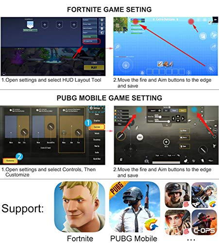 """Mobile Controller with Power Bank Cooling Fan for PUβG, YONWIN L1R1 Game Trigger Joystick Gamepad Grip Remote for 4-6.5"""" Android IOS Phone - Latest Version Blue Light 4000mAh"""