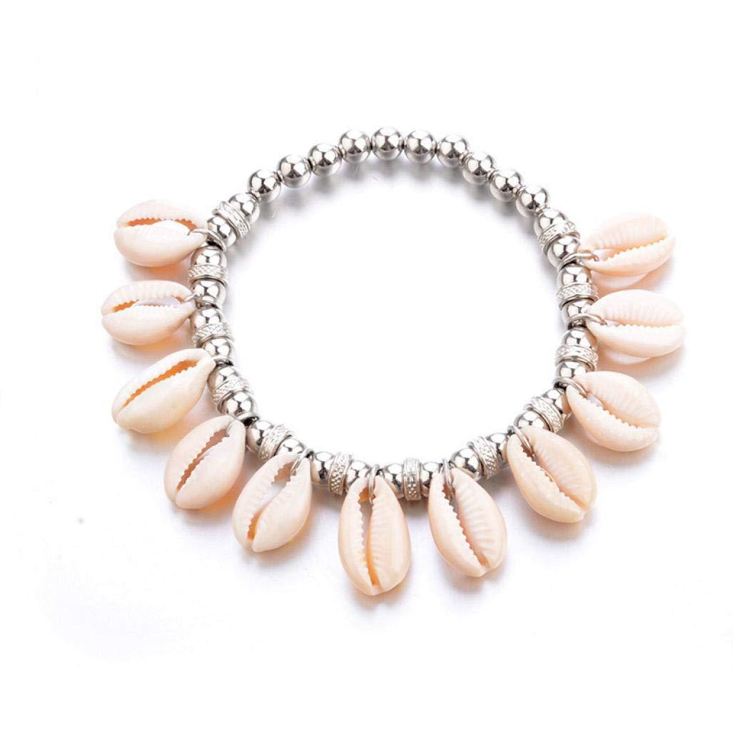 Hattfart Handmade Bangle Bracelet Summer Beach Shell Wood Beads Bohemian Party Jewelry for Women Girls (Beige)