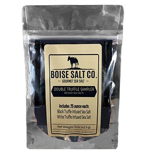 (Boise Salt Co. Black and White Truffle Infused Sea Salt Sampler Premium All-Natural)