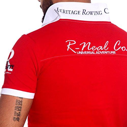 R-NEAL Poloshirt Herren Polohemd Polo Shirt Kurzarm Hemd T-shirt RTN-16686 Shirt, Größe:M, Farbe:Weiß / Rot