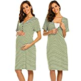 Ekouaer Labor & Delivery Maternity Hospital Gown by Baby Be Mine Maternity, Hospital Bag Must Have, Best (Army Green L)