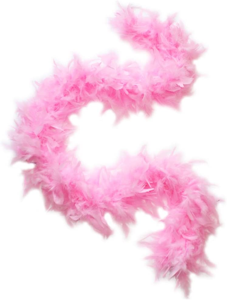 """45g 52"""" Turkey Chandelle Feather Boas, Over 40 Colors & Patterns to Pick Up (Baby Pink) 51rJRDIAbcL"""