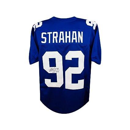 premium selection 8c561 124cc Michael Strahan HOF Autographed New York Giants Custom Blue ...