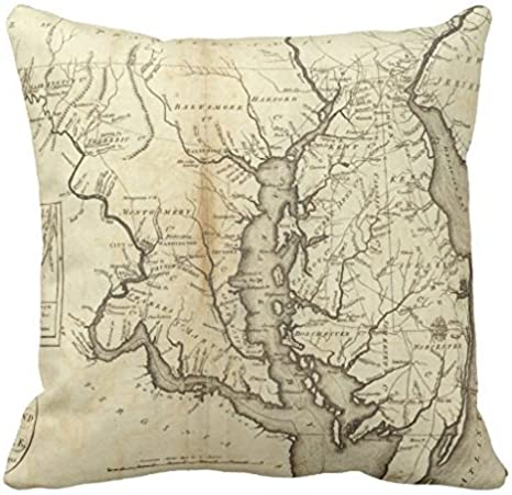 Vintage Map Of Maryland 1796 Home Decor Pillow Cover For Girls Throw Pillowcase Dorm Room Decor Throw Pillows For Couch 18 X 18 Home Kitchen